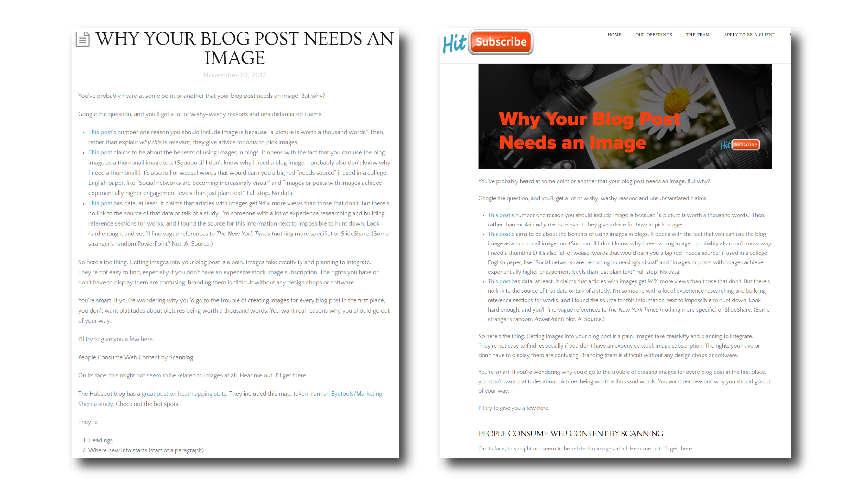 A comparison of this blog post with no images to this blog post with images