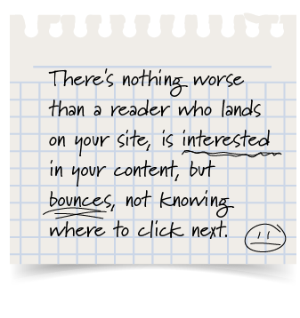 Pull quote---There's nothing worse than a reader who is interested but bounces