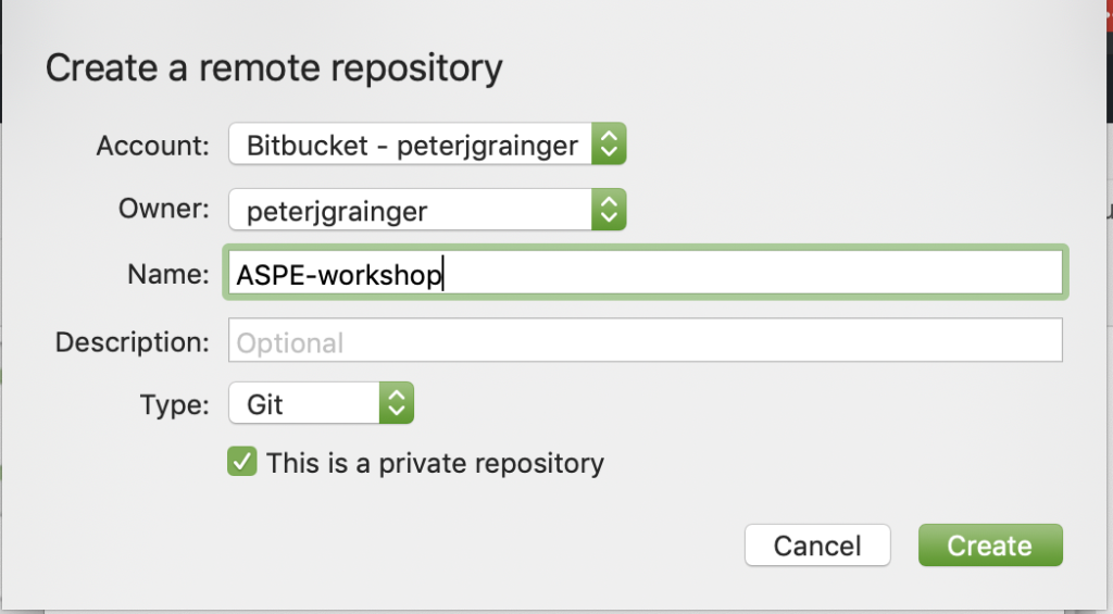 create a private repository
