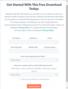 HubSpot's form to get their white paper, including spaces for your phone number, email, and website