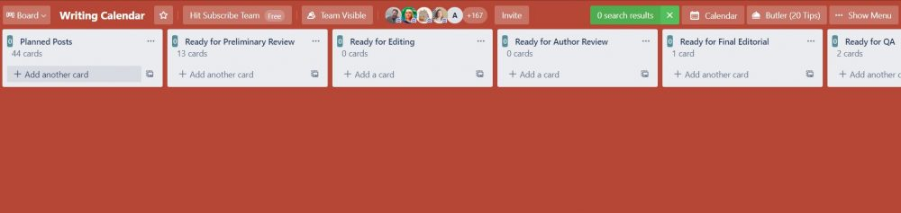 An example of how to create an editorial calendar in Trello, based on what Hit Subscribe has done.